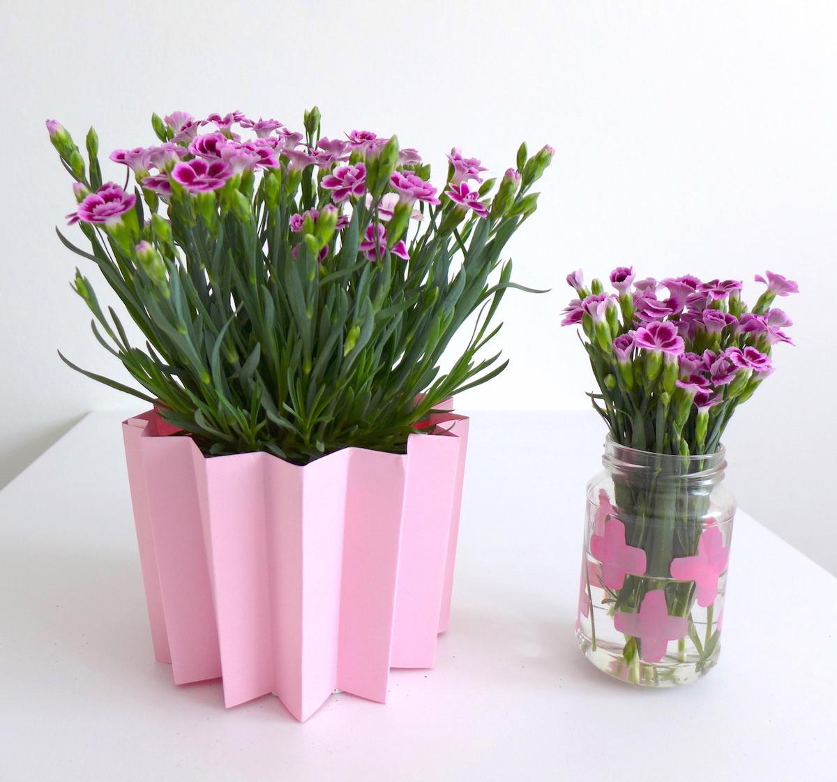 Pink Day DIY Blumen Deko Vase und Blumentopfmantel sophiagaleria