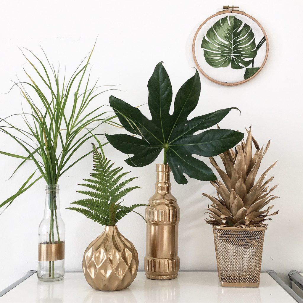 Goldene Vase Deko