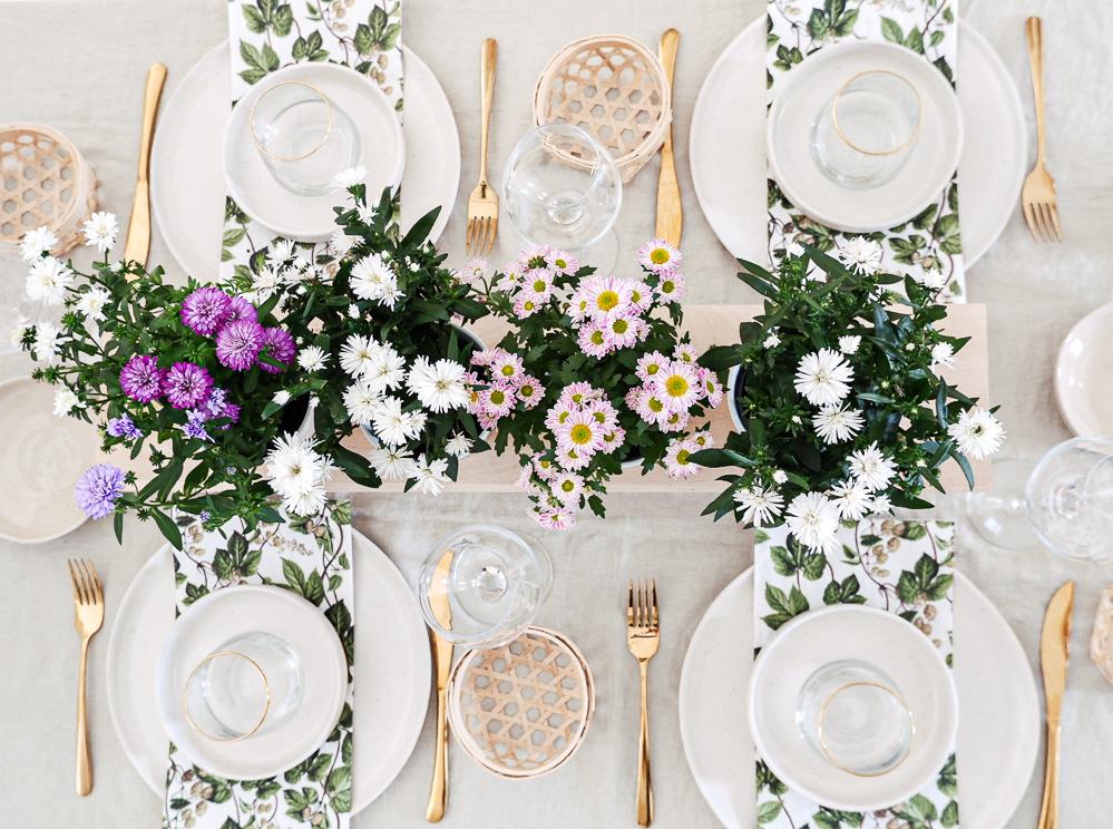 Blumen Tischdeko DIY Blumenbank