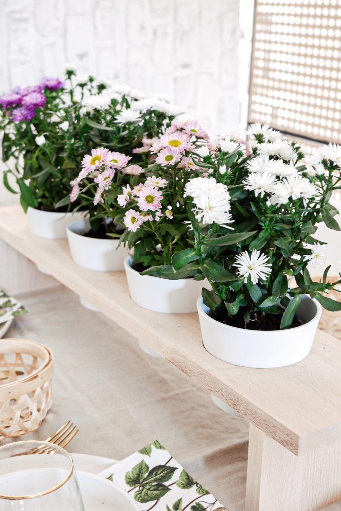 DIY Blumenbank Tischdeko