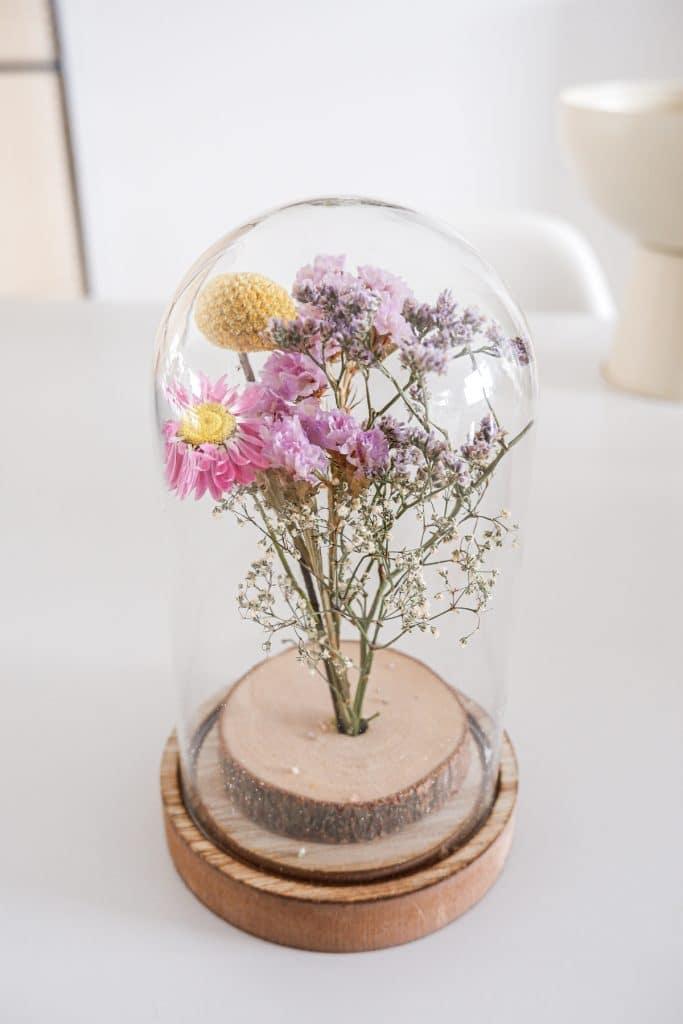 Sophiagaleria Blumendeko mit Trockenblumen unter einer Glasglocke