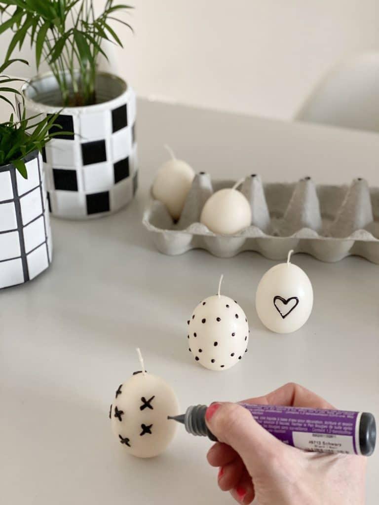 DIY Kerzen Ostereier mit Punkten sophiagaleria