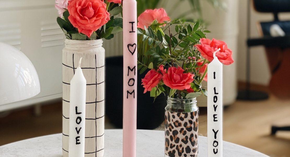 DIY Love Kerzen und Blumen Muttertag sophiagaleria