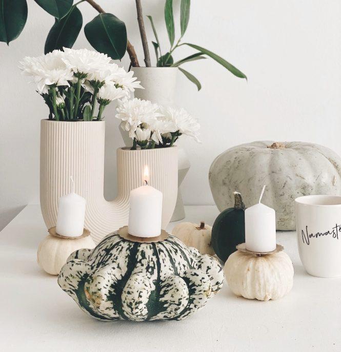 DIY Herbst Deko Kerzenhalter Kuerbis sophiagaleria